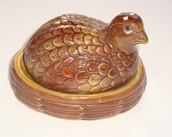 Vintage Japan Salt and Pepper Shakers - Grouse on a Nest