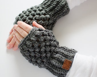 SALE | Puff Stitch Wrist Warmers |  Charcoal | Crochet Fingerless Gloves | Texting Gloves | Mittens | Ready to Ship