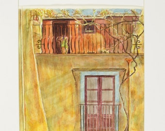 ORIGINAL painting, watercolor, signed, Spain, building, door, windows, balcony, gift art, 18x24/mounted 22x28
