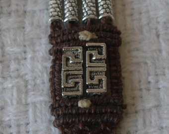 "Bracelet of hand knotted Micro Macrame and Pewter beads, ""Stolz"""