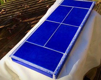 Blue  Ceramic Tile Trivet/Pot Holder