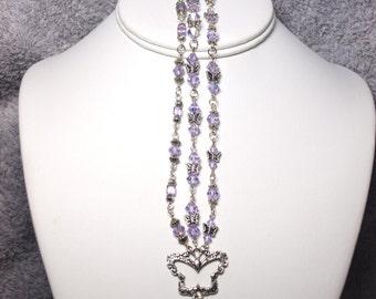 Butterfly Triple Strand Swarovski Crystal Bracelet - AB Light Purple
