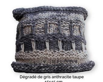 Hand knitted wool Cushion