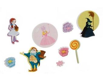 SCRAPBOOKING - CRAFT STICKERS / Wizard of Oz / Munchinland / Munkins - Dorothy - Glinda - Wicked Witch / 60 Foamies