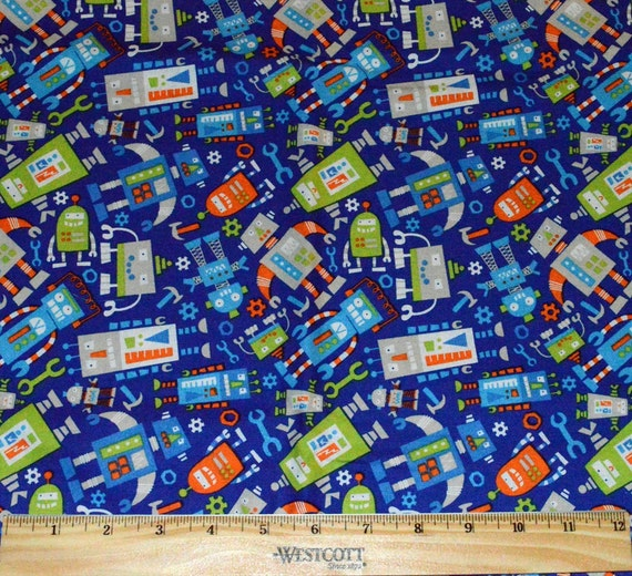 Robot fabric 1 2 yard for quilting blue green bright for Robot quilt fabric