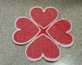 Machine Embroidered Hearts Candle Mat or Doily