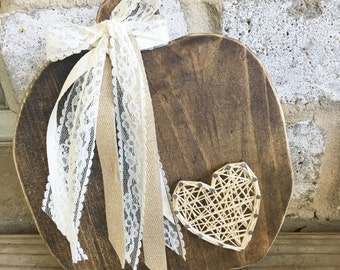 pumpkin wooden decor with string art heart and lace - pumpkin shape