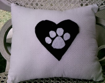 Black and White Paw Pillow