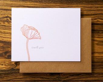 Poppy Flower - Letterpress Thank You Card