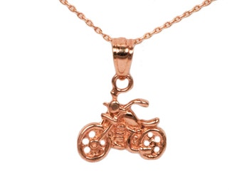 14k Rose Gold Motorcycle Necklace
