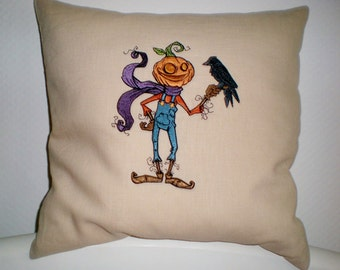 Halloween pillowcase young pumpkin 100% linen embroidered crem stained