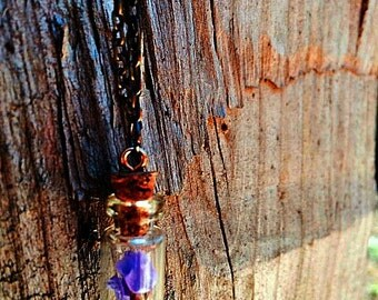 Glass Vial Necklace with Purple Flowers