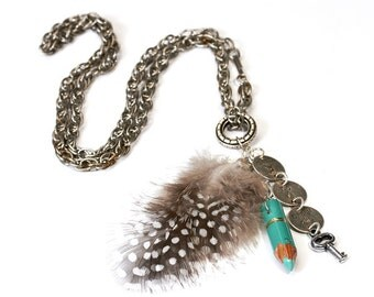 Boho necklace amulet, Talisman