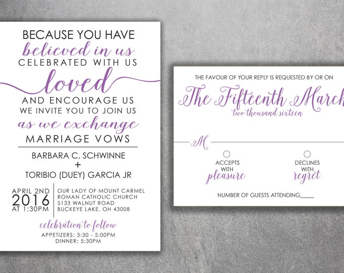 Affordable Wedding Invitations Set Printed - Cheap Wedding Invitations, Unique, Purple and Black, Custom, Modern, Elegant