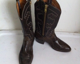 Brown men's cowboy boots, from real snake leather, soft leather, vintage style, western boots, old boots, retro boots, men's size 9 1/2.