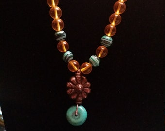 Turquoise and Amber Crystal Necklace