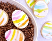 Gold Speckled Watercolor Easter Egg Sugar Cookies