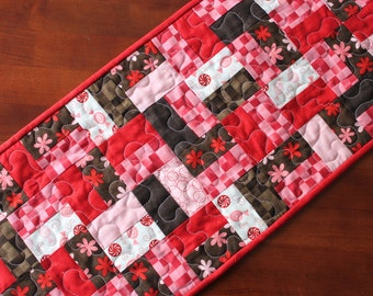 Valentine Table Runner, Quilted Valentine Table Runner, Red Pink Brown Cream, Flirtations, Handmade Table Runner, Quilted Table Runner