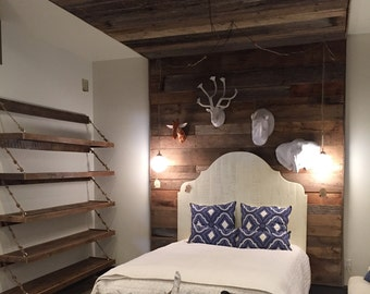Reclaimed wood canopy bed