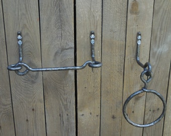 Set of hand forged towel ring and toilet paper holder, Bathroom Accessories, Wrought iron, Blacksmith