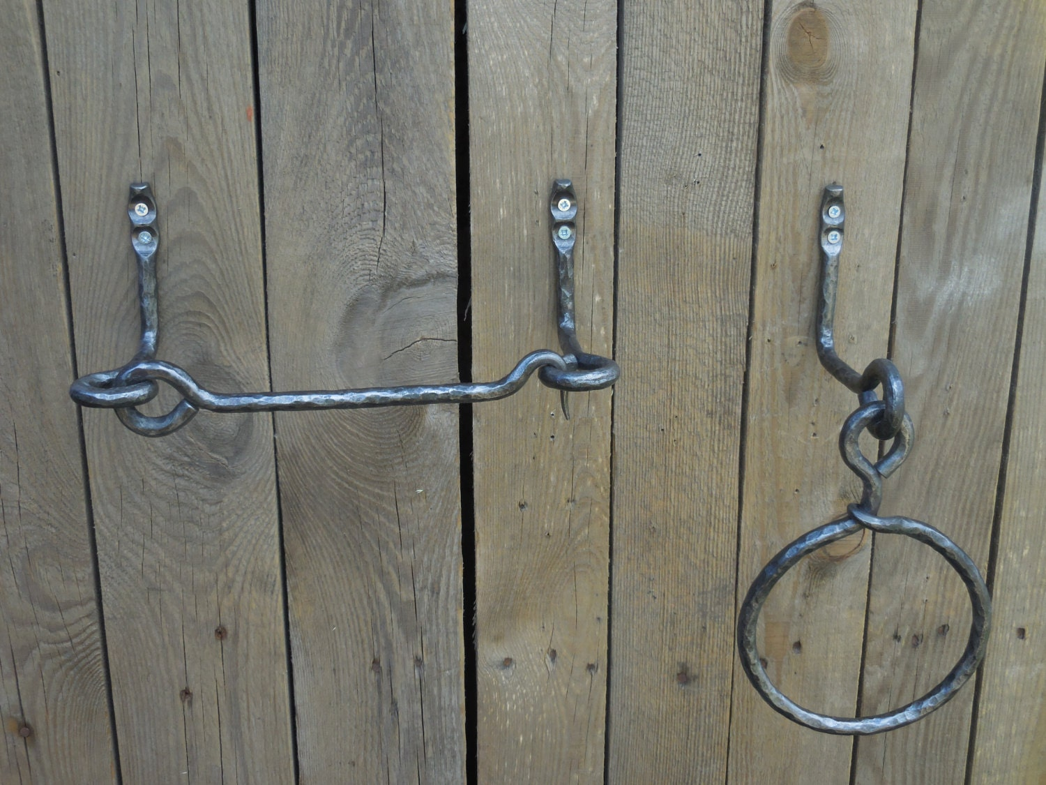 Set of hand forged towel ring and toilet paper holder - Wrought iron towel racks bathroom ...