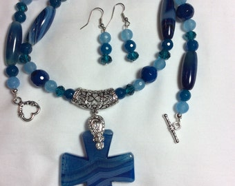 Blue Striped Cross Pendant Agate Necklace with Earrings