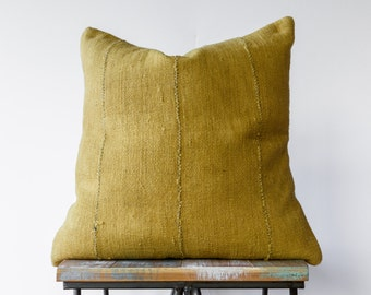 """Authentic African Mud Cloth Pillow in Mustard Yellow/Gold color // Decorative Throw Pillow (18"""", 22"""", 24"""" Lumbar)"""