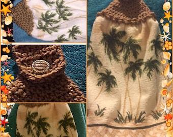 Palm, coconut trees crochet top kitchen towel
