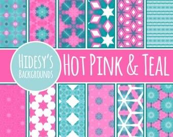 Pink and Teal Watercolor Scrapbooking Paper / Digital Paper / Patterns