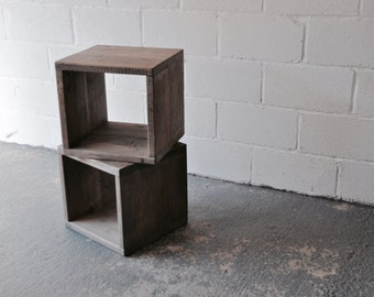 reclaimed wood bedside side table industrial rustic modern furniture scaffold boards upcycled furniture end table
