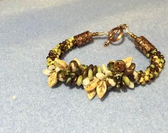 Custom hand woven Kumihimo Beaded Bracelet - Green & brown earth tone colors