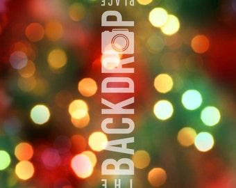 Large Photography Backdrop - Holiday Lights Bokeh - 5'x5', 5'x6', 5'x7', 5'x10'