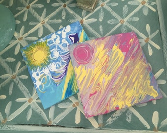 Multiple painted color Sunset Coasters or decorative tiles available in ANY requested colors