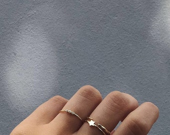 Star gold ring - Dainty ring-delicate ring - Minimalist ring - Tiny star ring - Minimalist jewelry - Star silver ring - Stacker ring