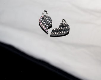 """Friendship pendant """"Double heart"""" made of carbon with red crystals"""