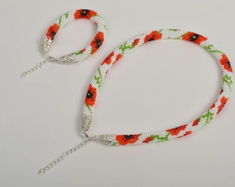 Designer seed beaded cord bracelet and necklace handmade jewelry present for her