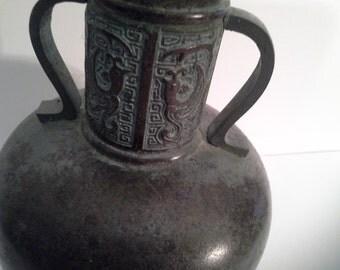 Surprise another vase!......dragon dark green metal vase