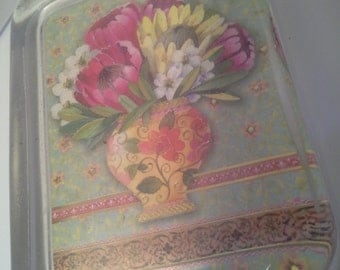 Flowers in vase glass paperweight