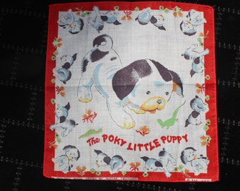 Golden Book Handkerchief - Poky Little Puppy with Red Border