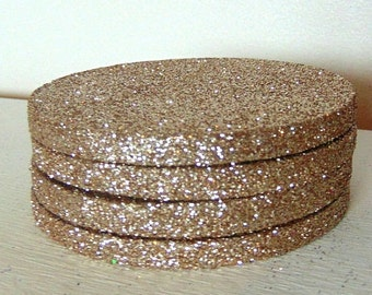 Coaster Set of 4 in Champagne Gold Glitter