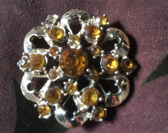 Vintage gemstone and metal brooch circa 1960s amber coloured