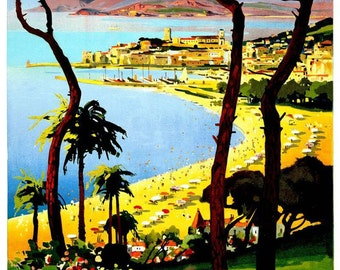 Vintage Cannes Cote D'Azur France Travel Poster Print
