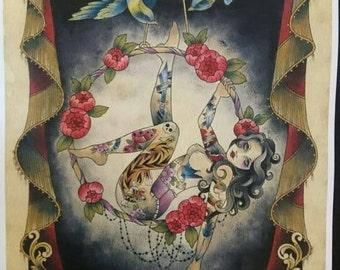 A3 print tattooed circus lady