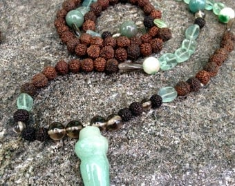 Mala of Rudraksha with natural stones (nephritis, smoky quartz , fluorite )