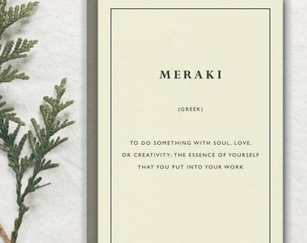 MERAKI -- Greek Untranslatable Foreign Word Card // Premium 100% Recycled Paper // Vintage Stationery, Literary Greeting Card, Postcard