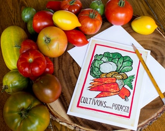 Greeting Card - Cultivons Notre Potager - French 5x7 Frameable Card - We Grow Our Victory Garden - Kitchen Garden
