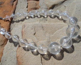 Clear plastic beaded choker necklace groovy to dressy sassy fun jewelry