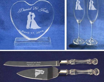 Policeman Wedding Cake topper Glasses and knife set personalized