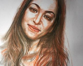 Unique Gift Idea - Original Custom Portrait Charcoal Drawing Sketch Artwork -