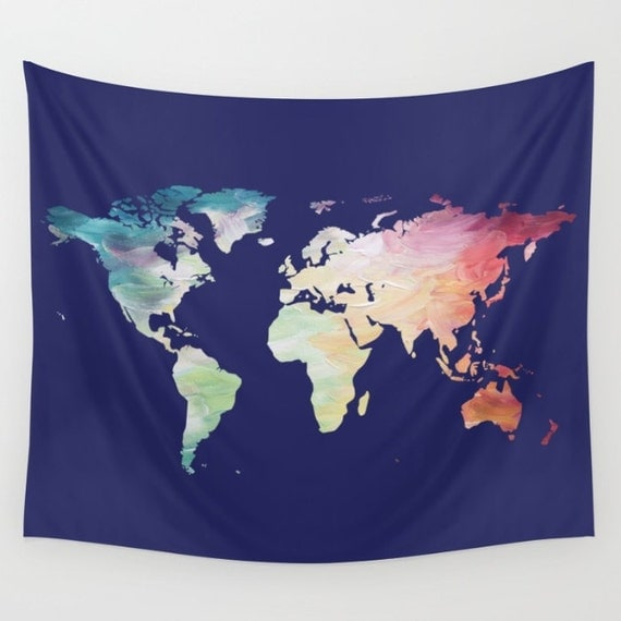 Map Tapestry Navy Tapestry World Map Wall by OlaHolaHolaBaby